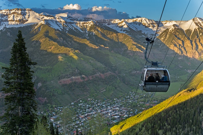 The Telluride Station Gondola reaches nearly 12,000 feet, offering aerial views of the canyons and valleys.