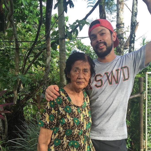 Tikaram with his grandmother in Fiji