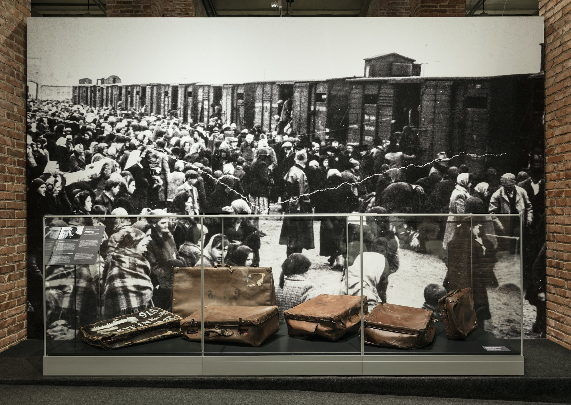 The exhibition showcases suitcases confiscated from deportees to Auschwitz in front of a photograph of hostages arriving at the camp.