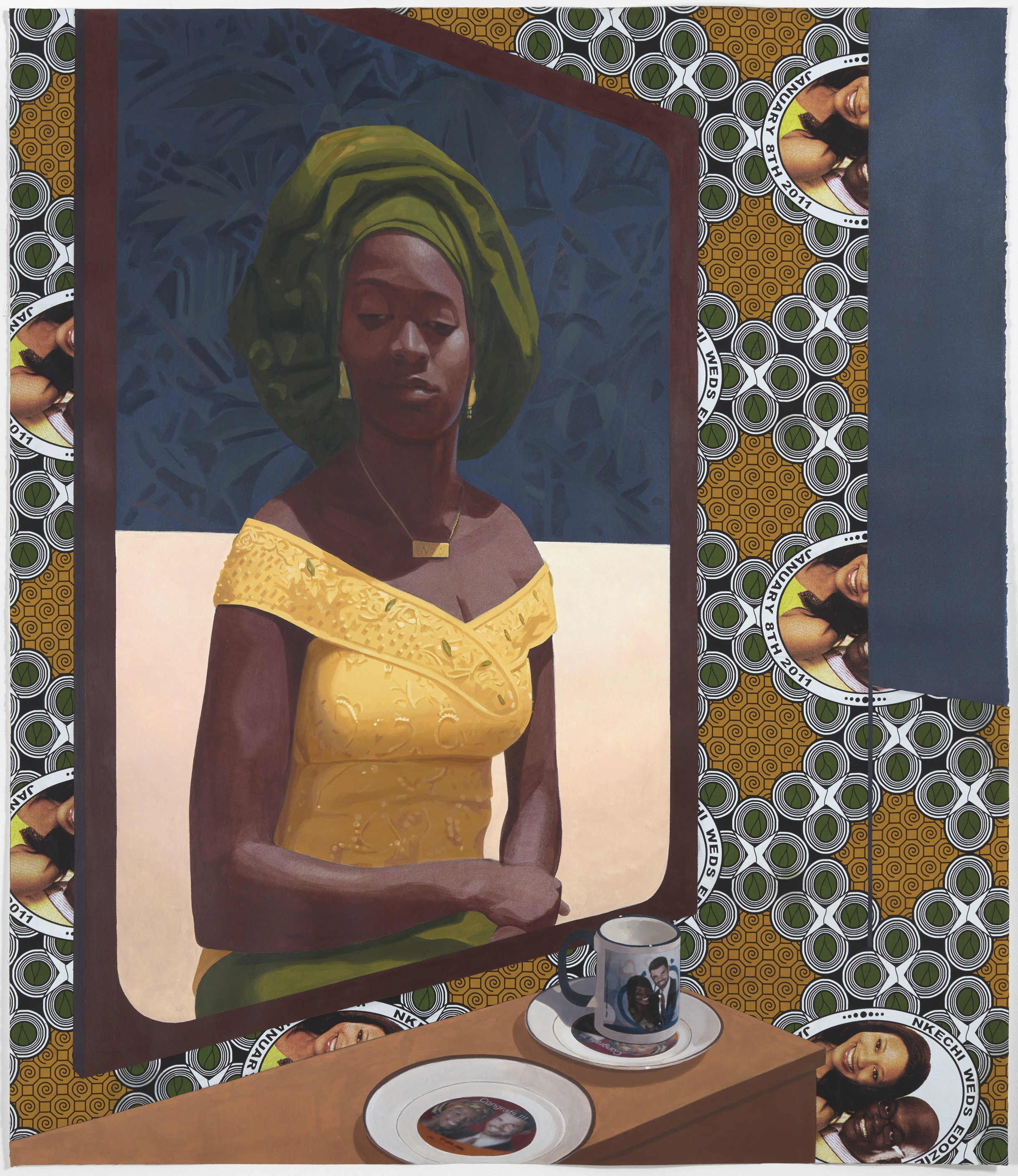 Crosby combines collage, acrylic paints, and traditional West African fabrics in her mixed-media works.