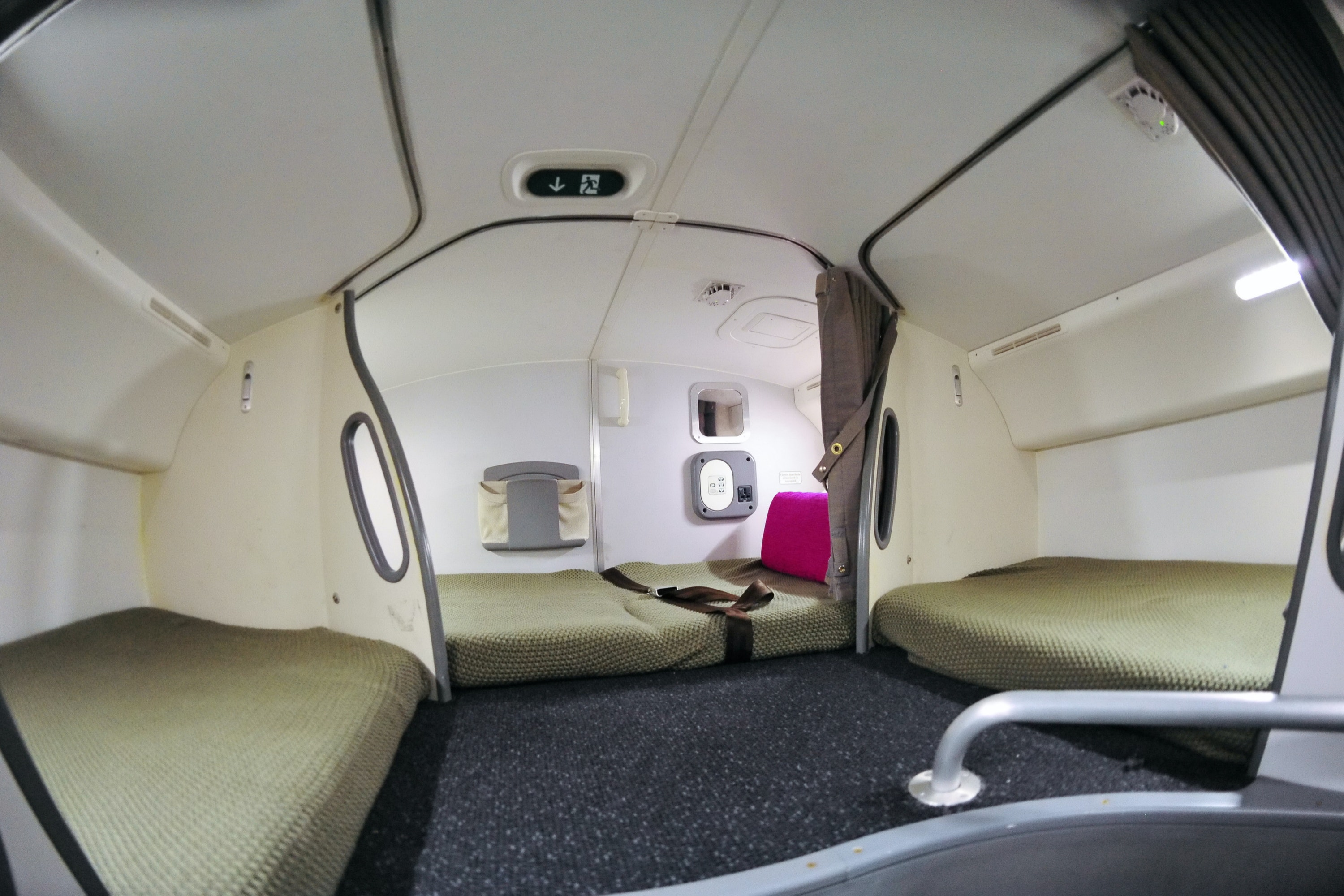 The Boeing 787 Dreamline has a large space for crew to rest.