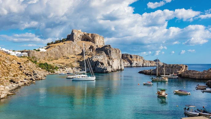 The coves and inlets of Rhodes's rocky coastline are best explored by boat.
