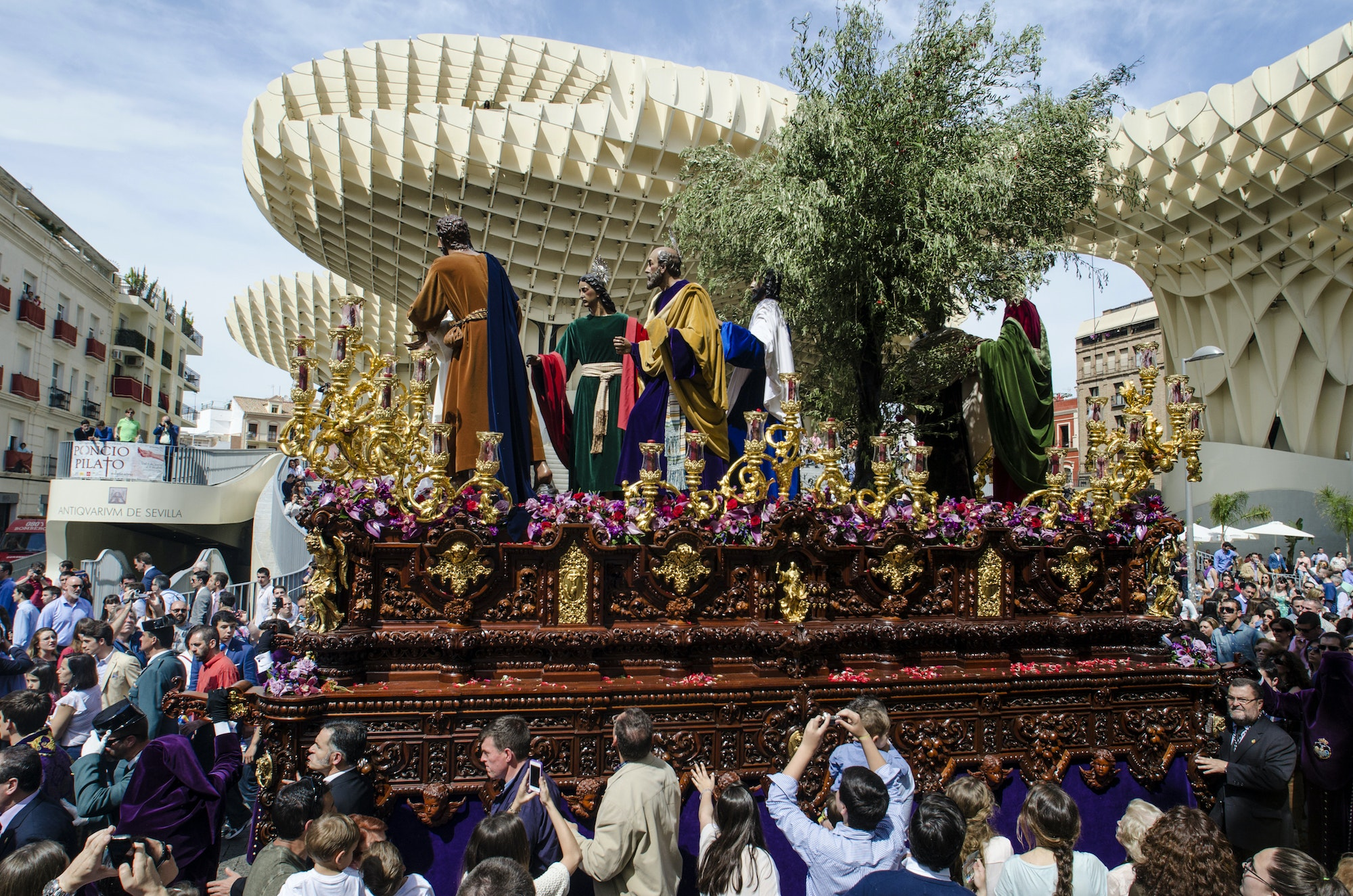 A Holy Week procession in Seville, Spain