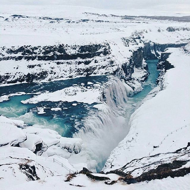 Brrr! Is it the cold that makes the blue of Gullfoss Waterfall so intense?