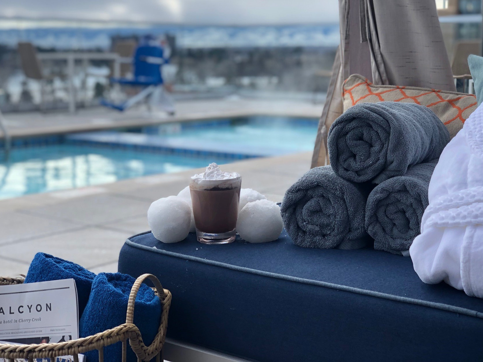 Halcyon Hotel Cherry Creek's rooftop is the place to be in Denver on Friday nights, complete with robes, a hot tub, firepits, and warming drinks.