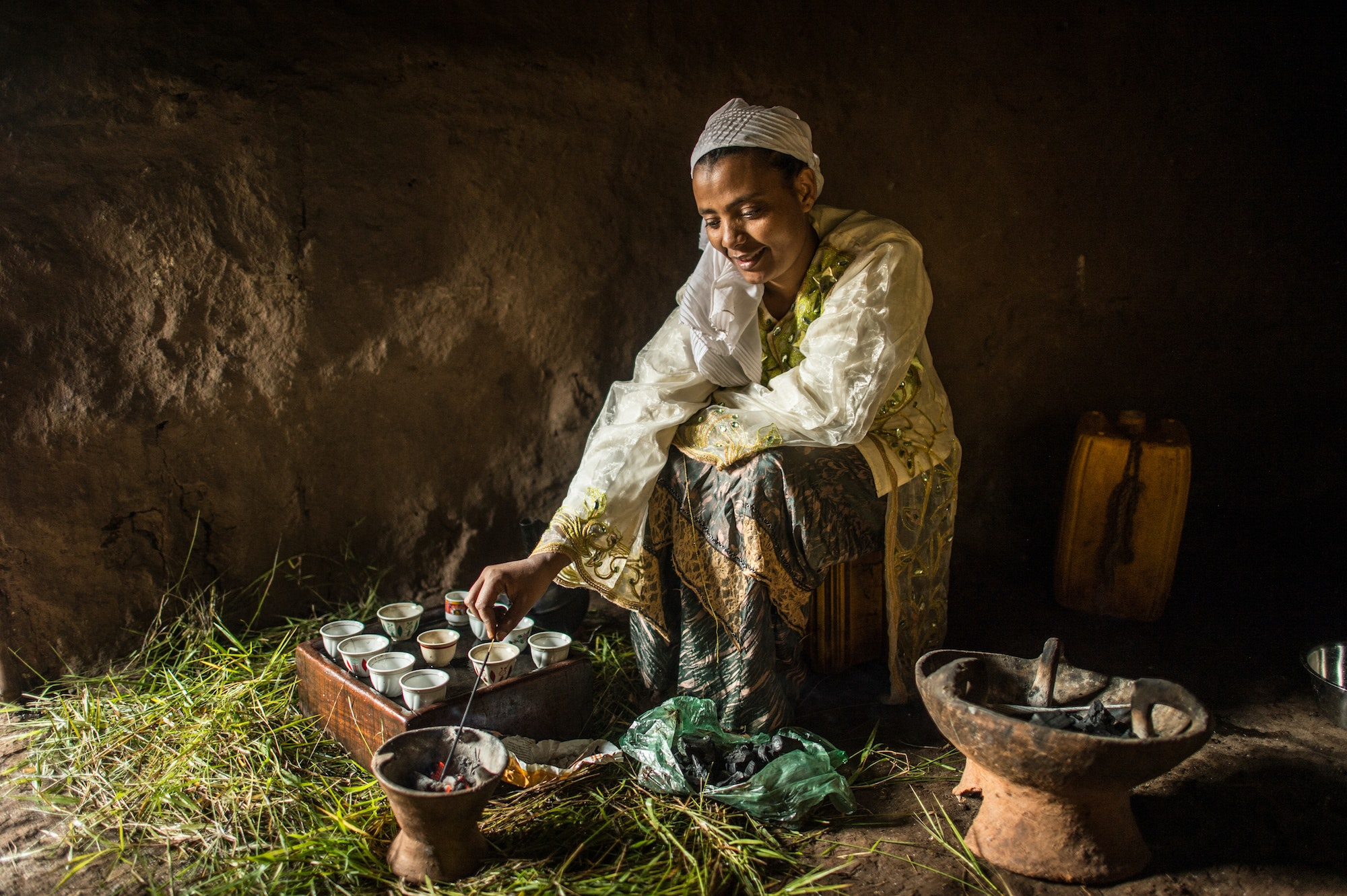 In Ethiopia, coffee is prepared and served in an elaborate three-part ritual.