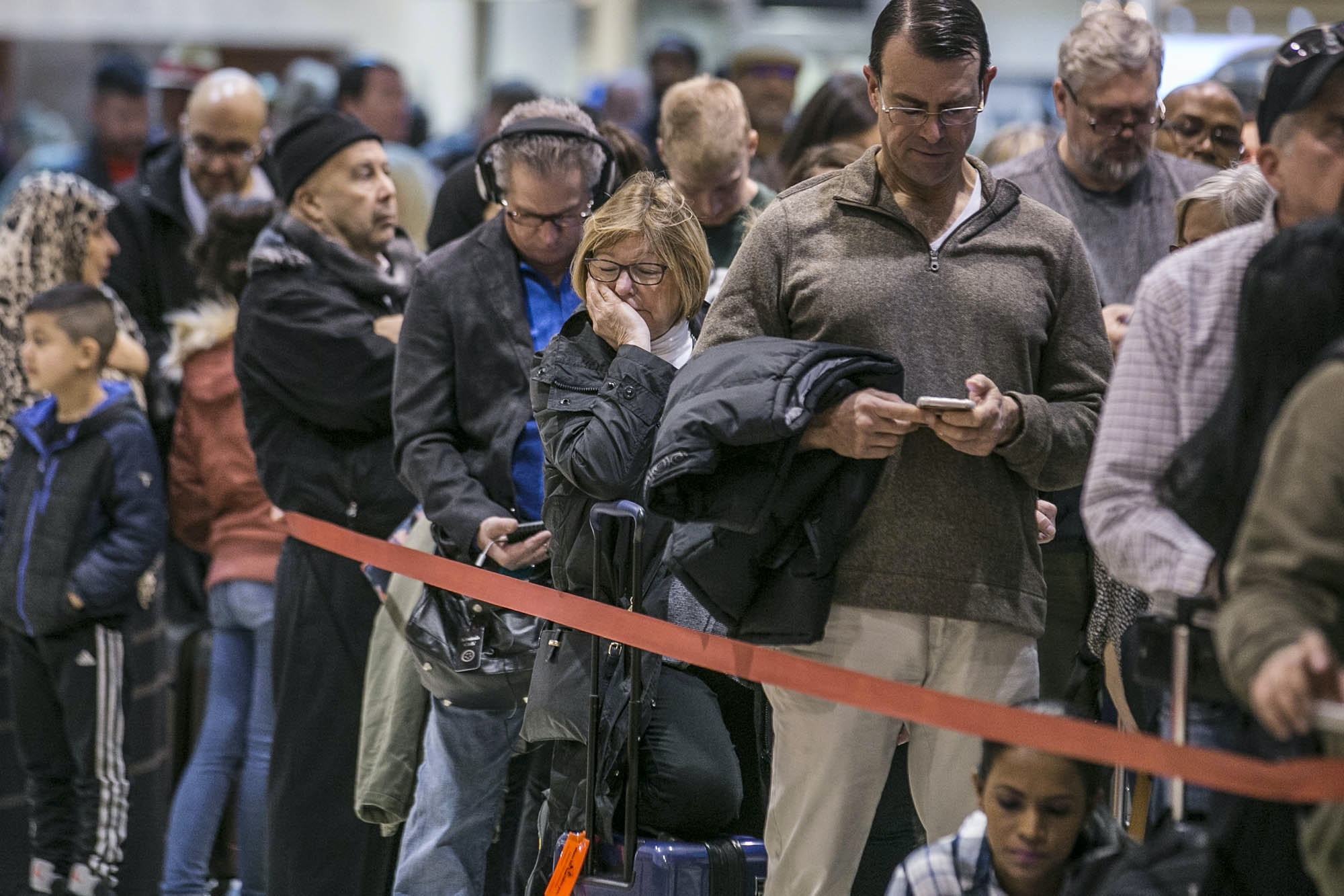 There were at least six security lanes closed at domestic terminal security checkpoints in Atlanta reflecting staffing shortages as TSA officers have been working without pay since the federal shutdown began December 22, 2018.