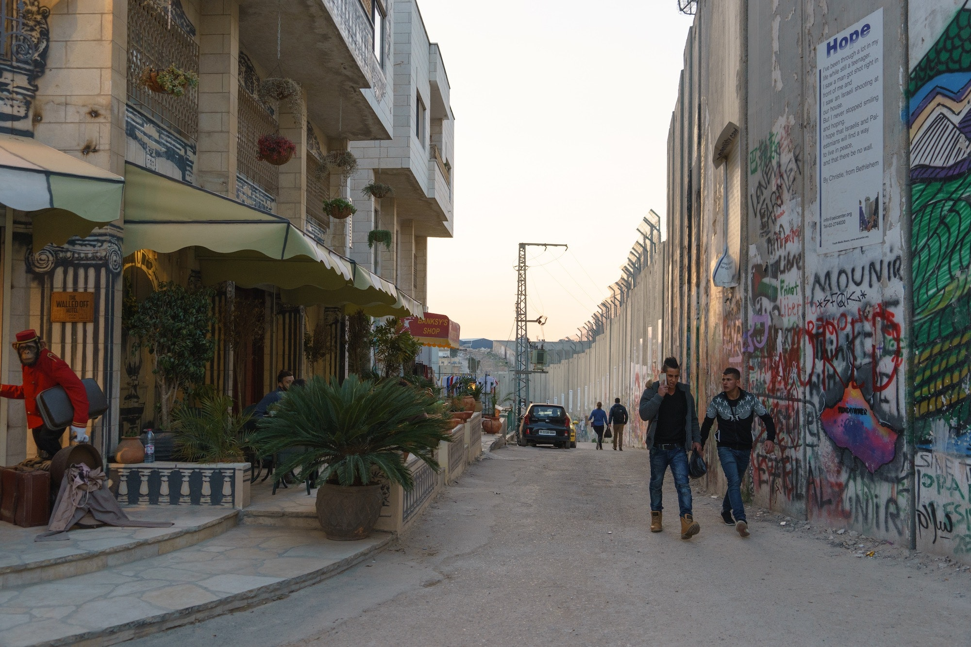 The Hotel directly faces the West Bank Barrier