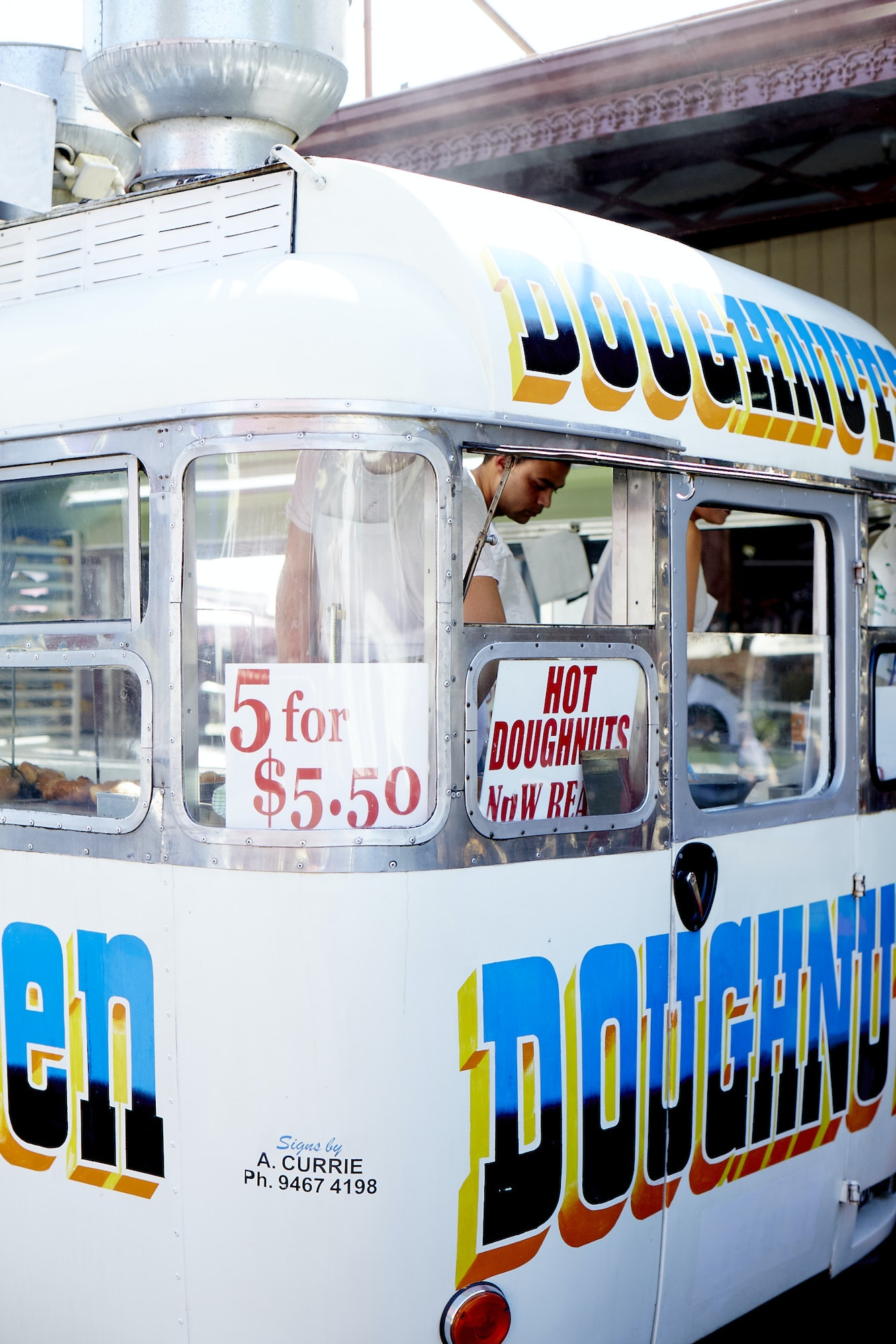 American doughnuts get an Austalian twist in the food truck at Queen Victoria Market.