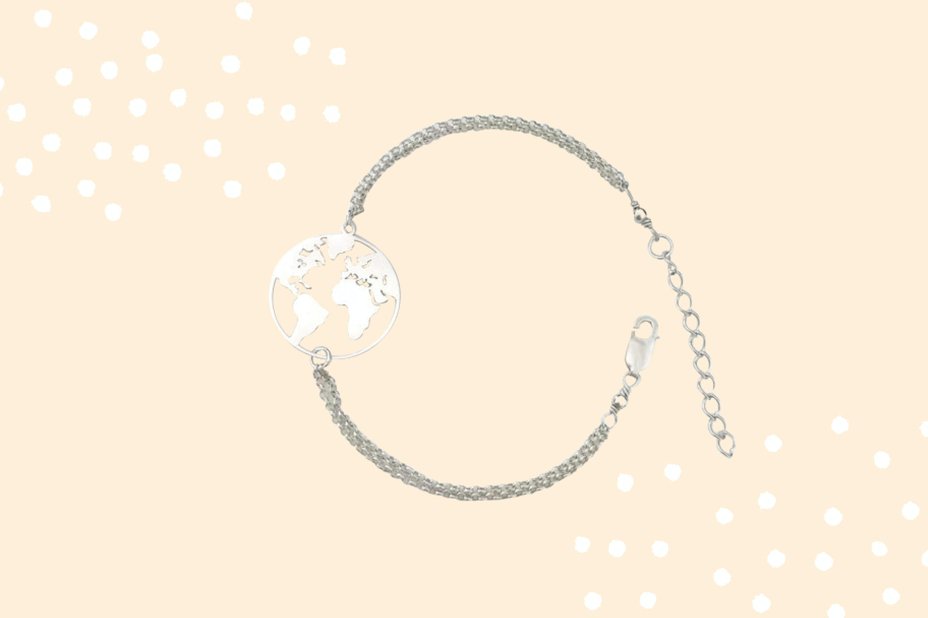 A silver map bracelent matches any outfit.