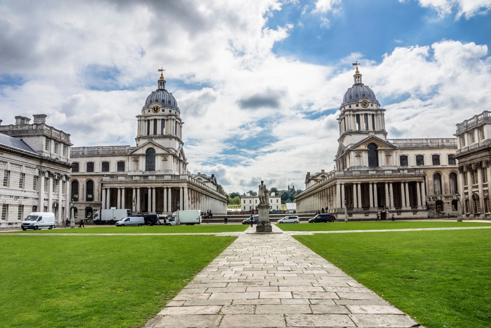 The Old Royal Naval College was designed in the 17th century by notable British architects Sir Christopher Wren and Nicholas Hawksmoor.