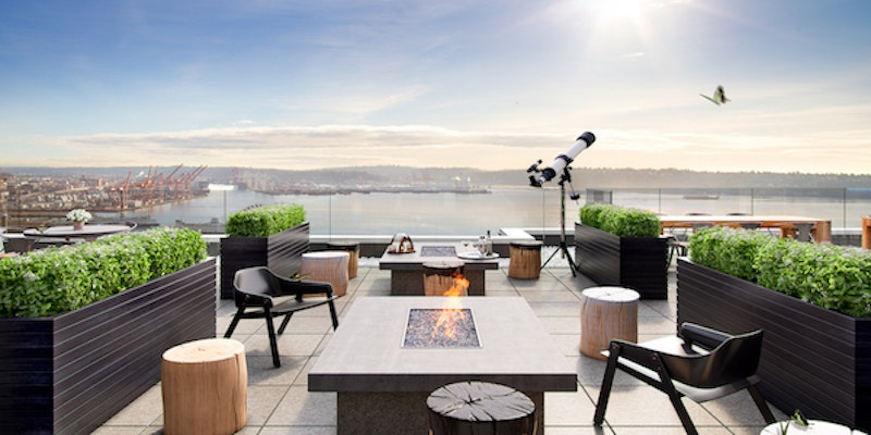 The Nest rooftop at Thompson Seattle in Washington