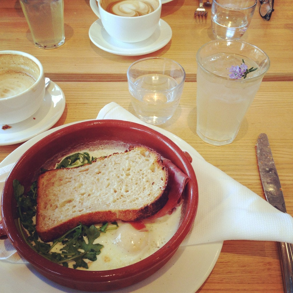Baked eggs and a lavender shrub at The Shed