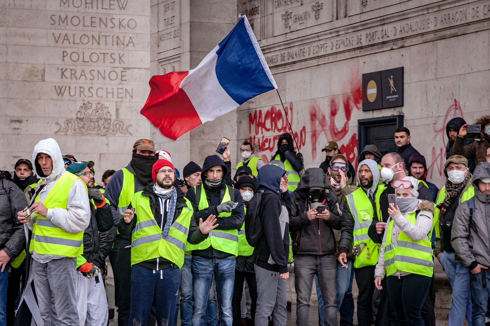 Yellow Vest protesters tagged the Arc de Triomphe at the December 1, 2018, protests. The monument remains closed.