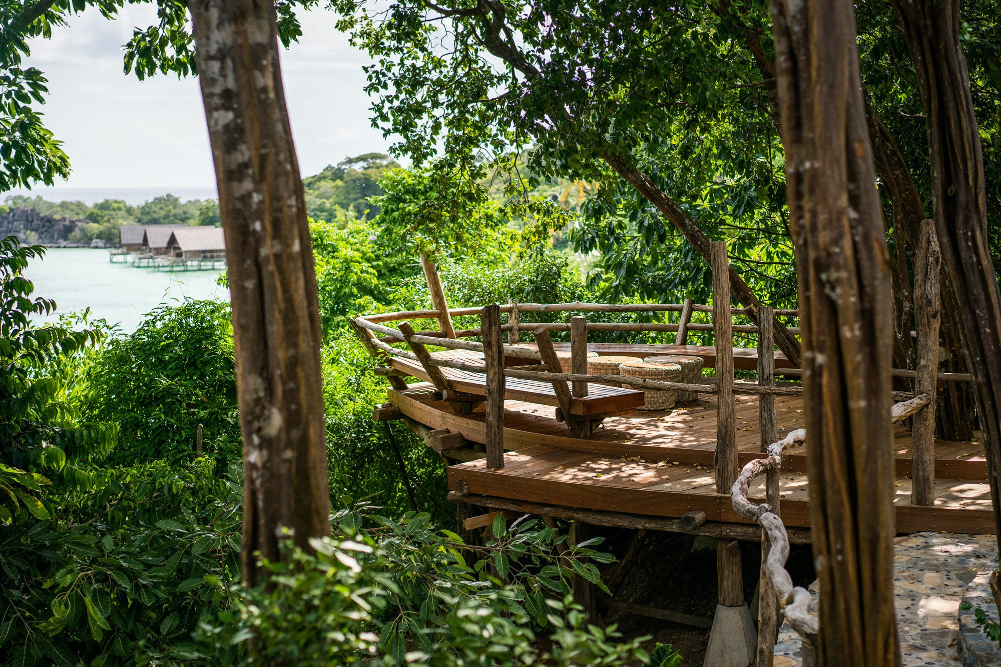 The structures of the resort exist in harmony with the surrounding environment.
