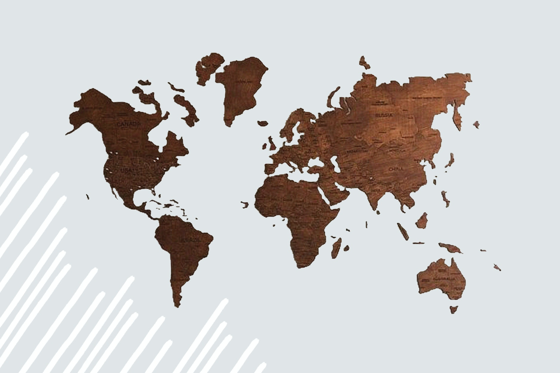 Personalize a wooden wall map with colors, sizes, or places traveled.