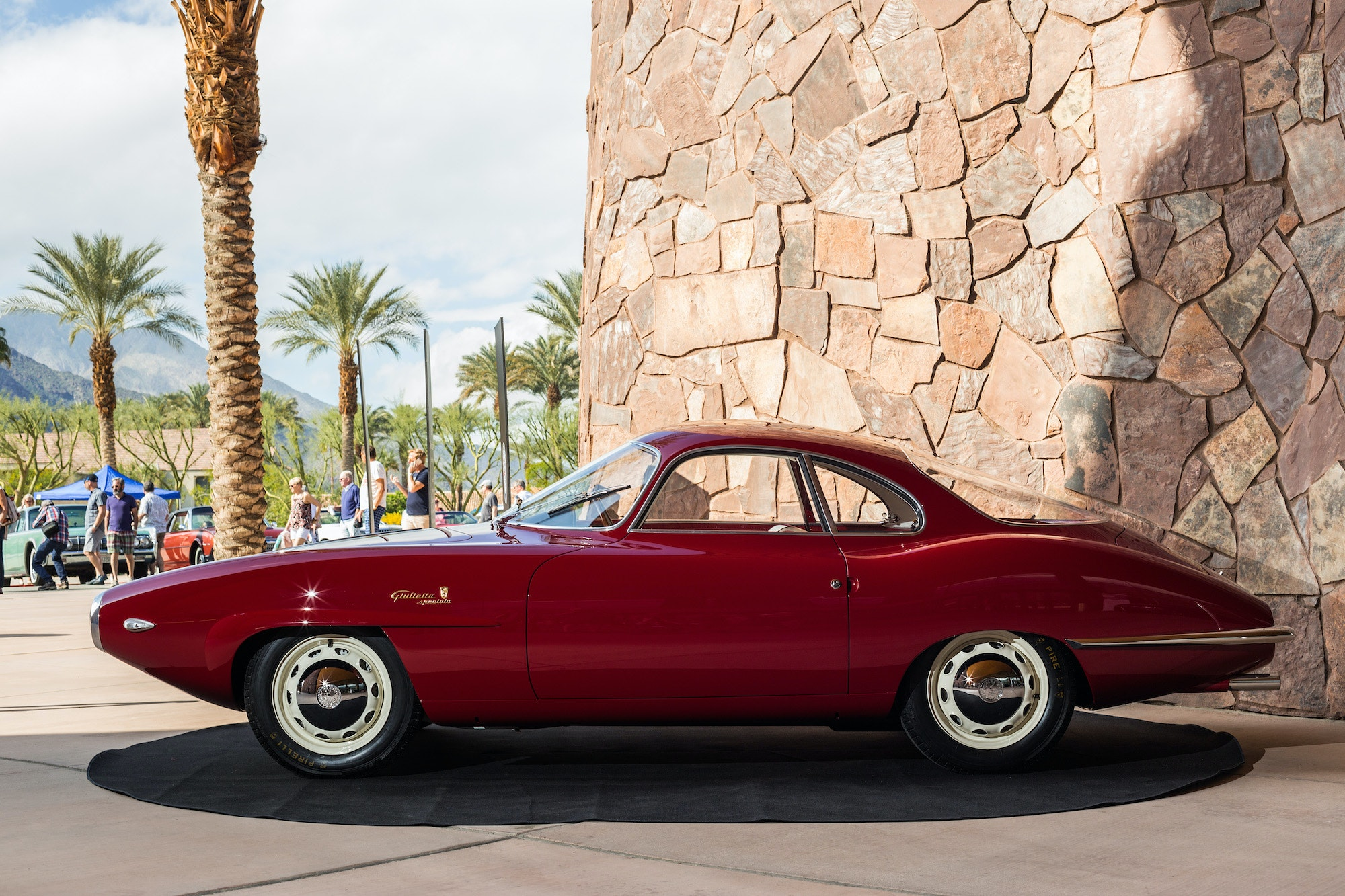 The 1957 Alfa Romeo Giulietta Sprint Speciale Bertone prototype at the Modernism Week Vintage Car Show.