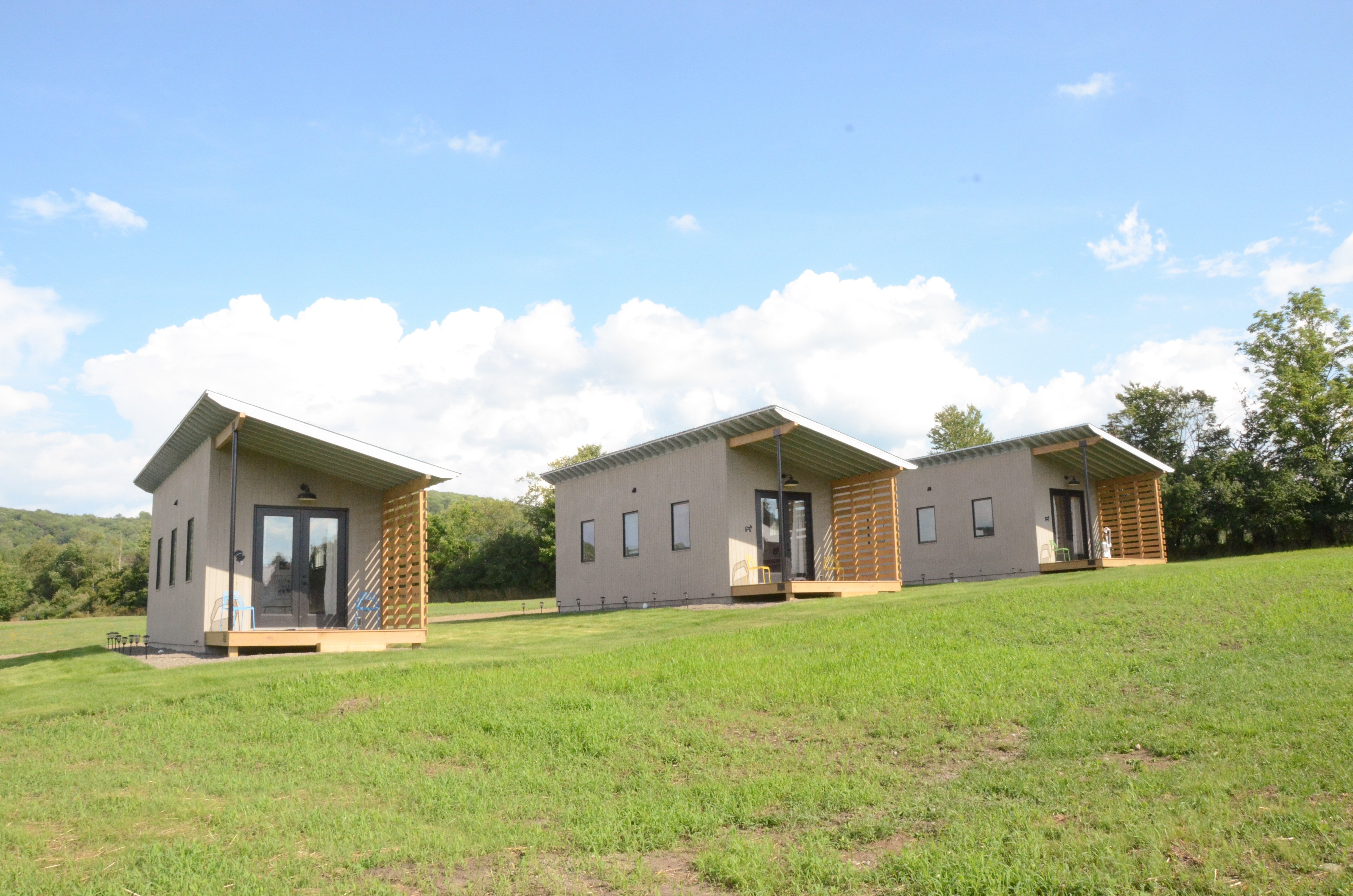 The Sanctuary's three tiny homes come complete with bathrooms, kitchens, and sweeping views.