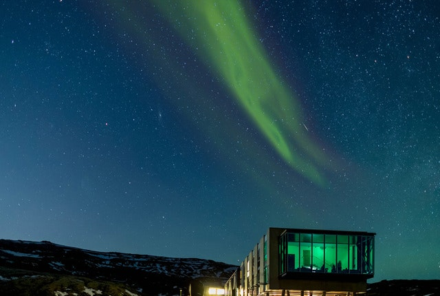 The Northern Lights above the Ion Luxury Adventure Hotel in Iceland, where Humm wants to travel next.