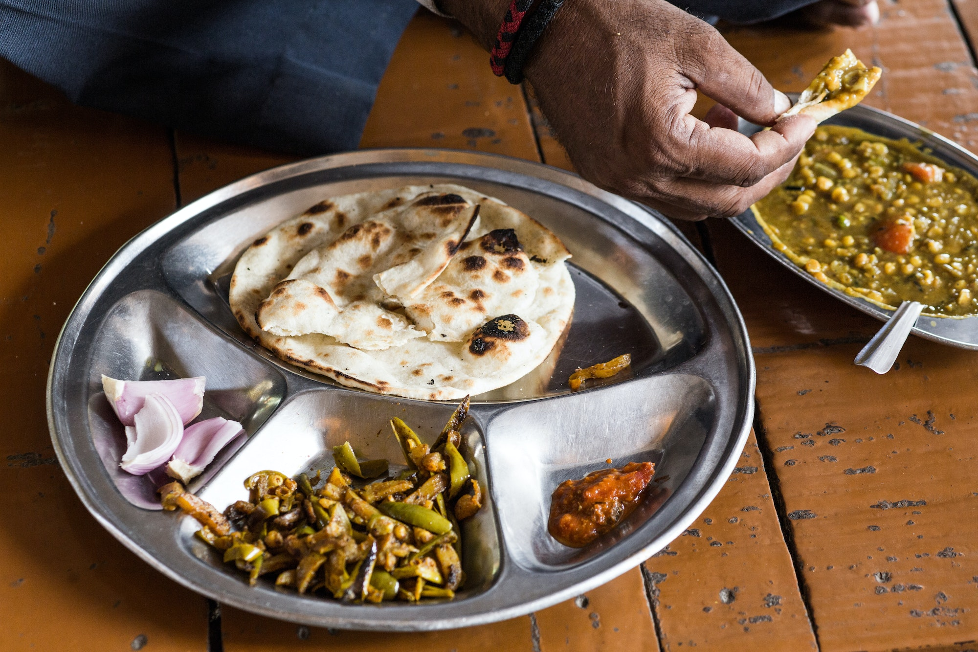 Curry and chapati in India