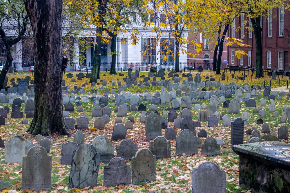 Such historic figures as Paul Revere are buried here in Boston.