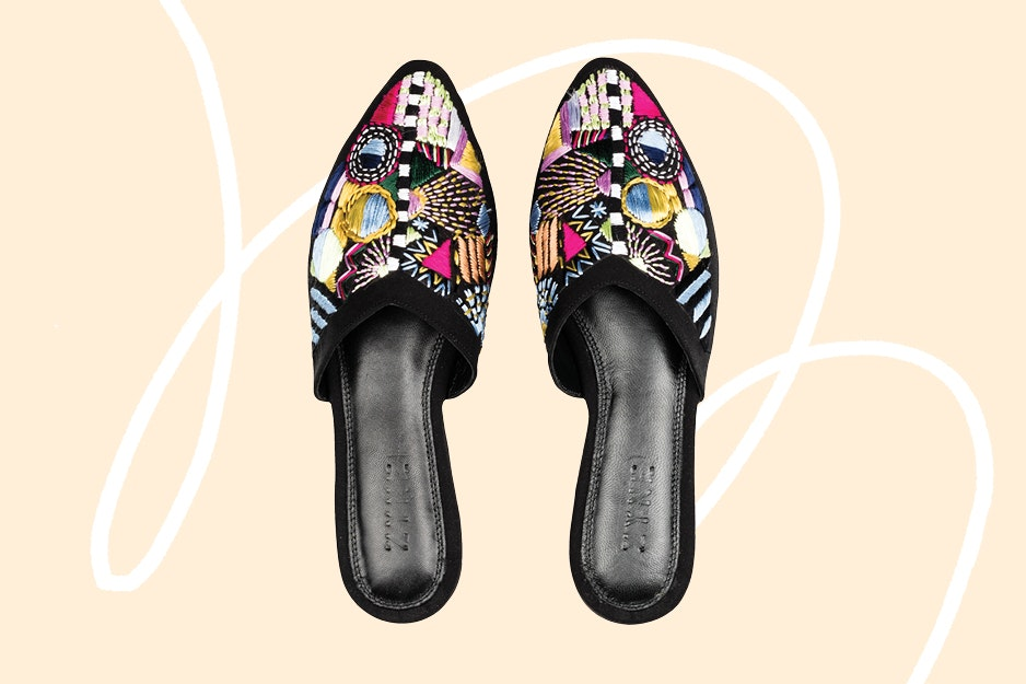 Bring some color to the train car or airplane cabin with a pair of these shoes.