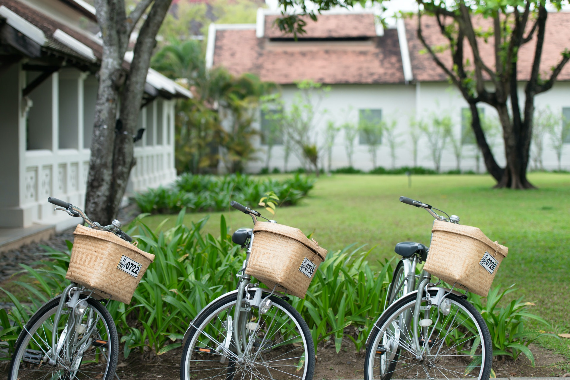 Locals and tourists alike get around Luang Prabang on two weels—like these cruisers offered to guests staying at the Amantaka hotel.
