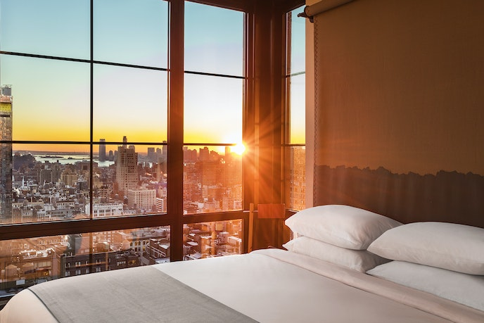 What the rooms at the Moxy Chelsea lack in size, they make up for in epic views.