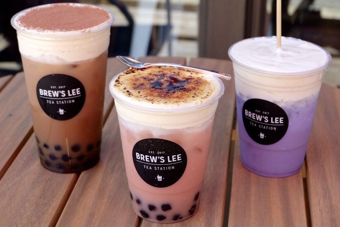 Cream Cheese Tea-ramisu, Rose Milk Tea with Creme Brûlée Cap and Taro Coconut with Cream Cheese Cap from Brew's Lee Tea Station in San Antonio, Texas.