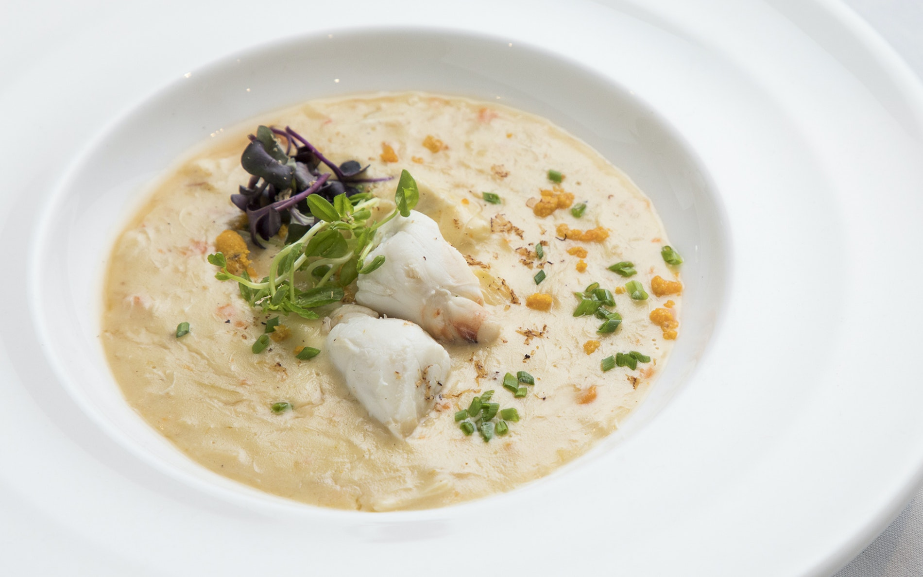 The recipe for creamy she-crab soup was developed for a visit from President William Taft.