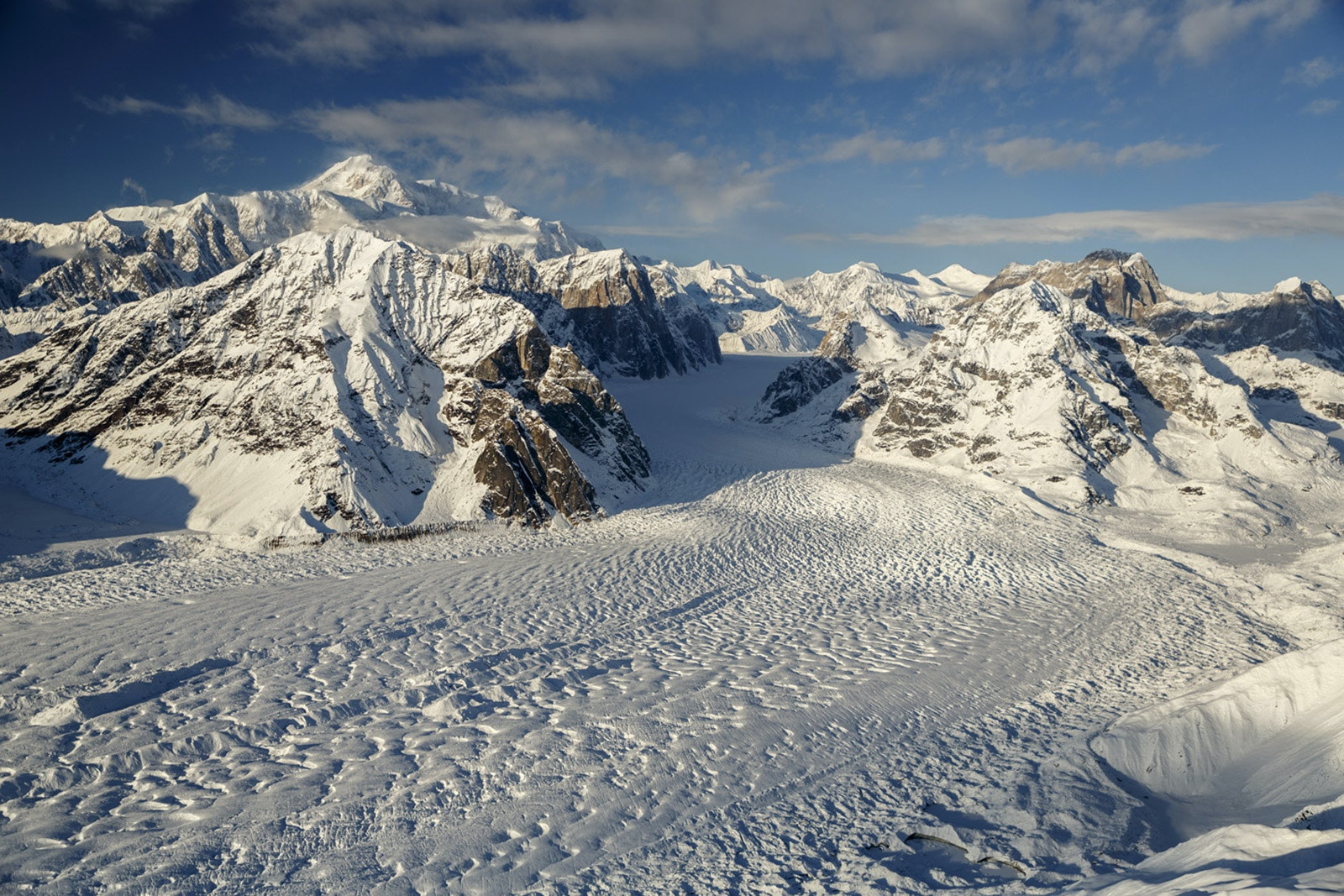 Ruth Glacier primarily occupies the southeast side of Mount Denali.