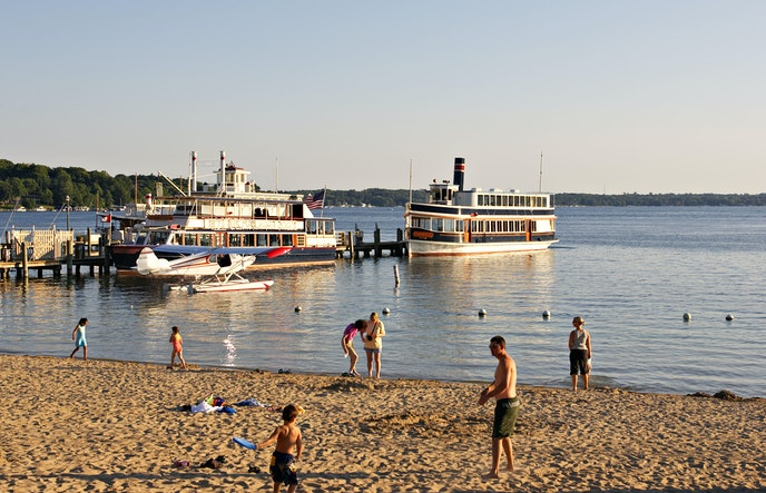 Lap up some lakeside fun at the other Lake Geneva—in Wisconsin—at Riviera Beach.