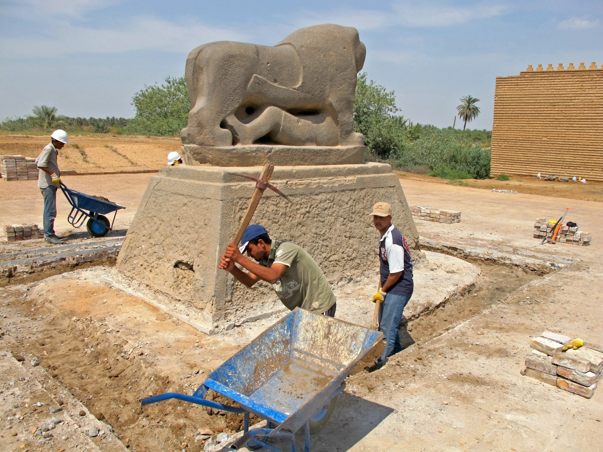 The online platform highlights efforts to conserve Iraq's cultural heritage under threat, such as the Lion of Babylon, pictured above.