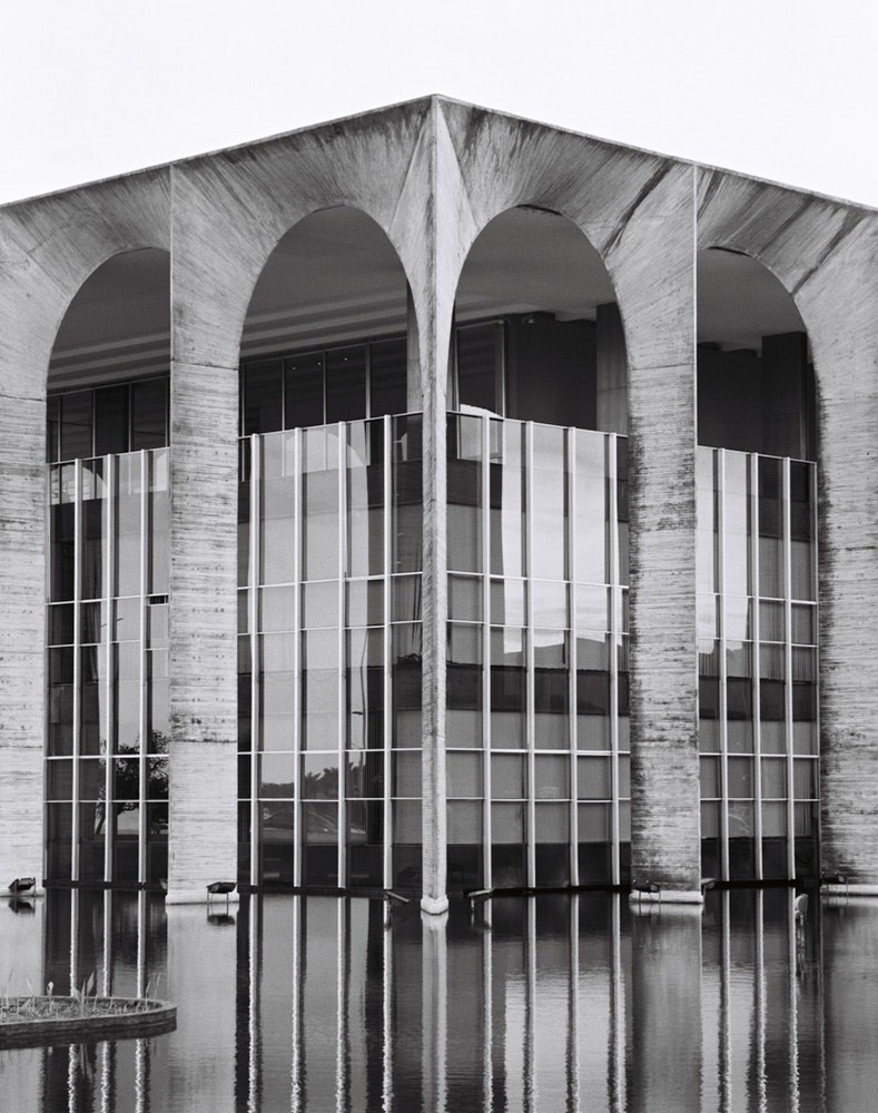Niemeyer's headquarters at Itamaraty Palace is nicknamed the Palace of the Arches. The stone and glass structure seems to rise out of a reflecting pool by landscape designer Roberto Burle Marx.