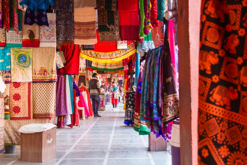 One of the colorful cloth markets in Jaipur