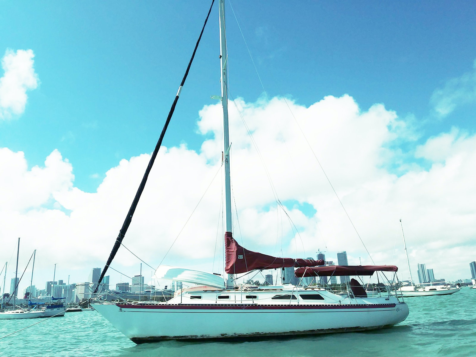 Spend the night bobbing about on the South Beach waterfront; this 36-foot sailboat accommodates up to five guests.