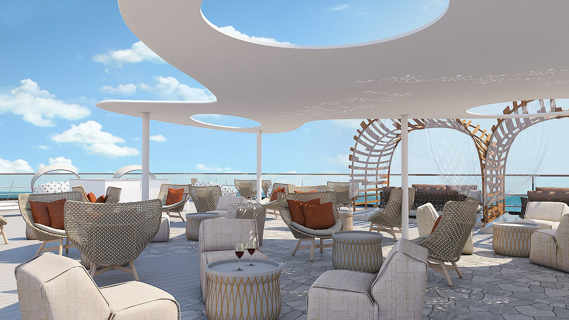 Celebrity Flora's upper deck will feature spaces for socializing, startgazing, and snoozing.