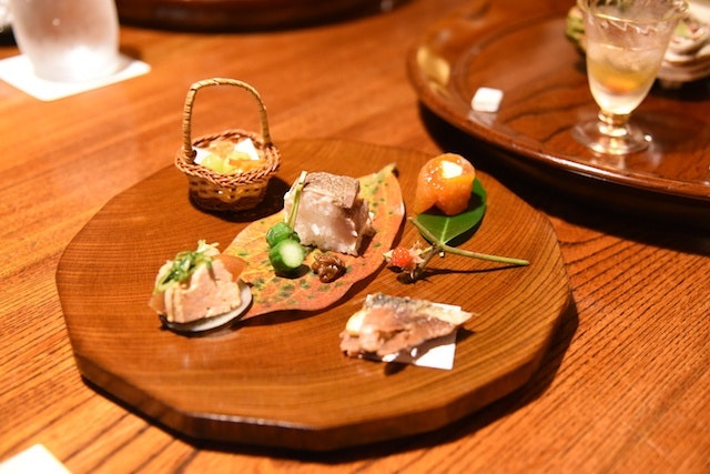 A dish from a multicourse kaiseki meal at Kayotei Ryokan.
