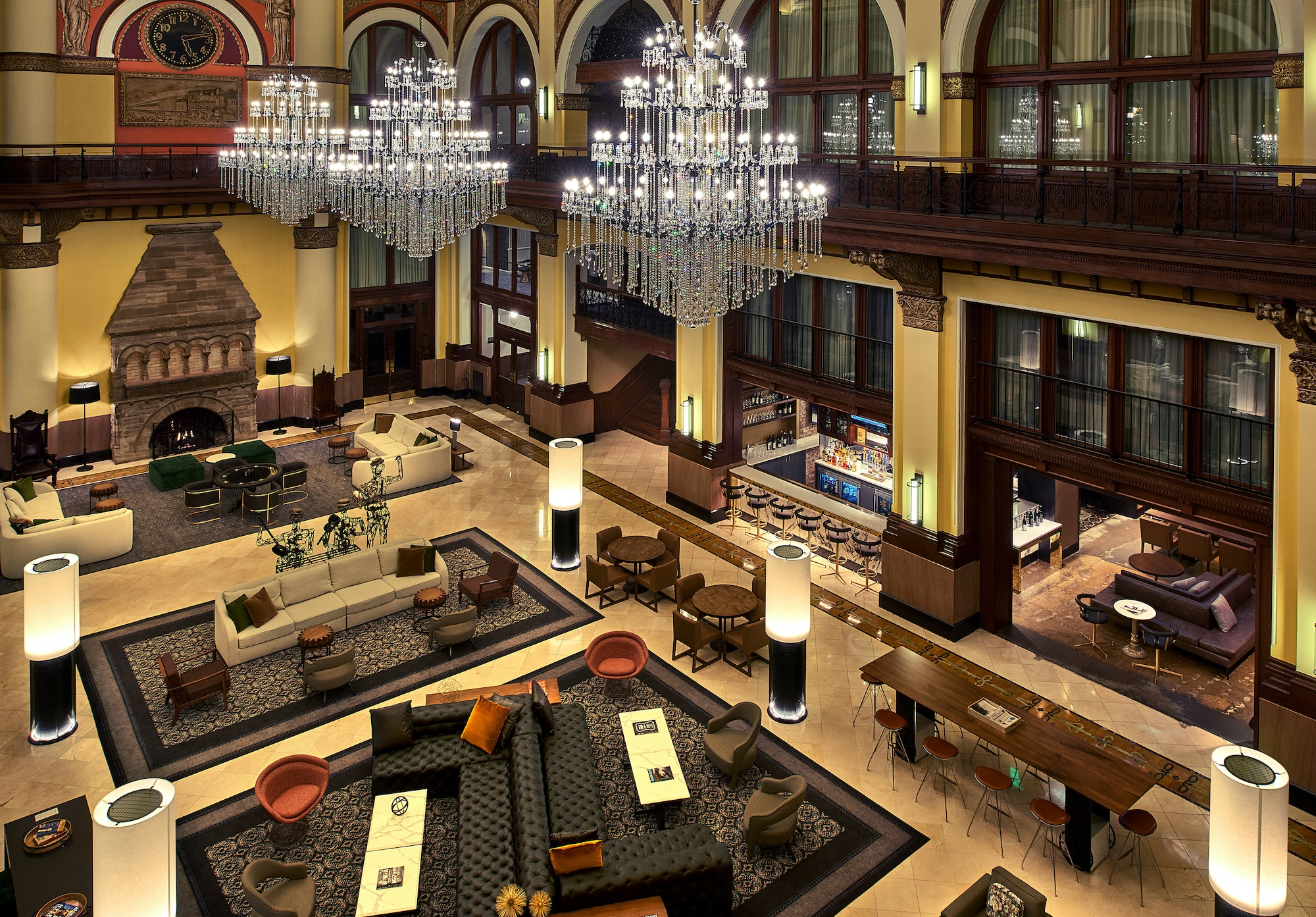 The lobby of Nashville's Union Station Hotel includes references to the historic Tennessee train station.