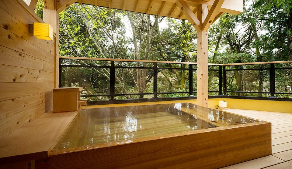 Relax at the end of the day in your own soaking tub at Kayotei ryokan.