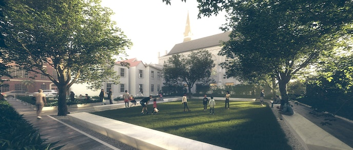 A rendering of the Survivors' Garden, looking toward the Mother Emanuel A.M.E. Church