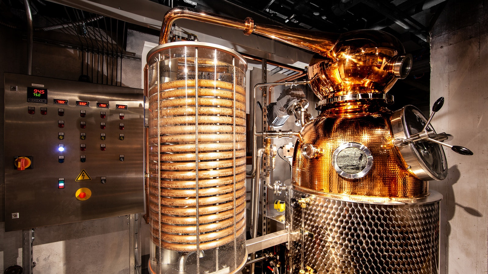 The centerpiece of The Underground's in-house distillery is this gorgeous copper-pot still.