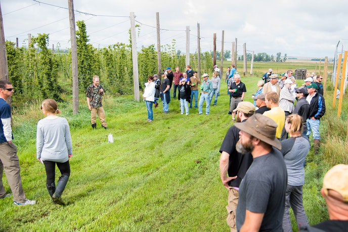 Visitors to Ostlie's in North Dakota can learn about hops, hardneck garlic, and haskap berries during a tour.