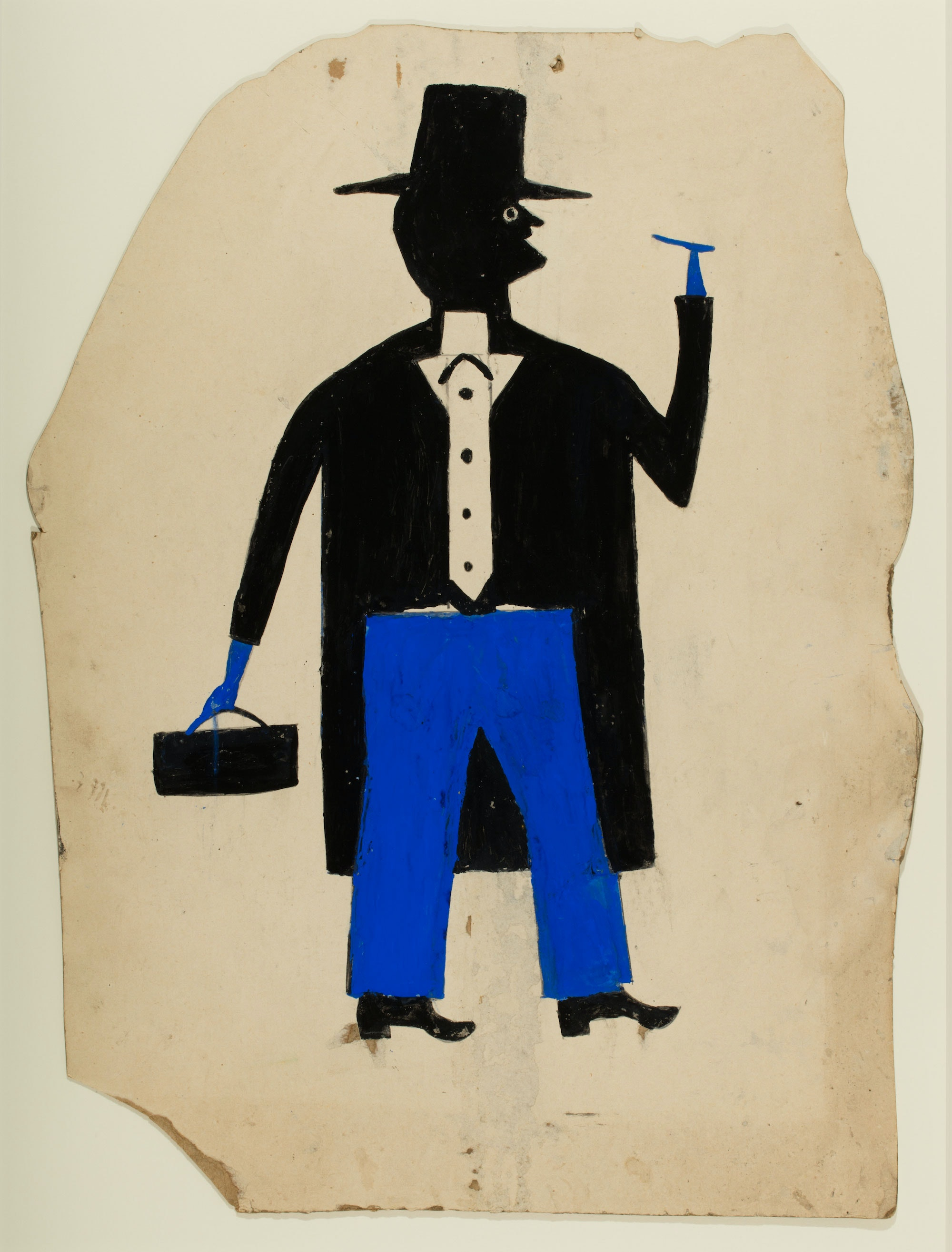 "Bill Traylor, ""Man in Black and Blue with Cigar and Suitcase"" (1939–42)"