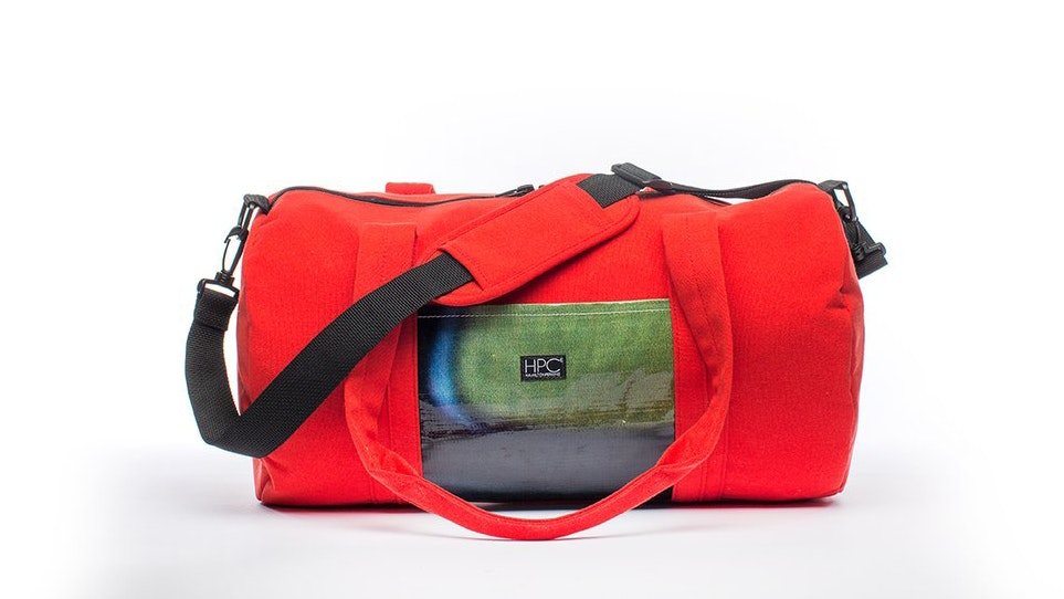 "Hamilton Perkins ""Earth Bag Lite"" duffle in red, $95"