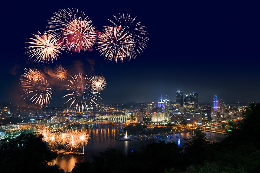 Pittsburgh's Fourth of July festival features live music, a historical reenactment, and a fireworks display over the river.
