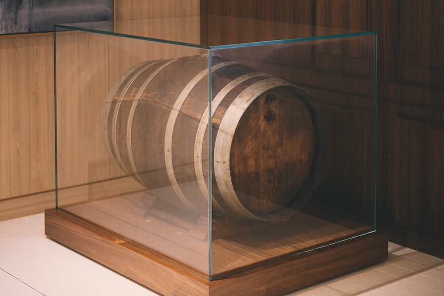 One of the barrels holding the linje aquavit is on display on the ship.