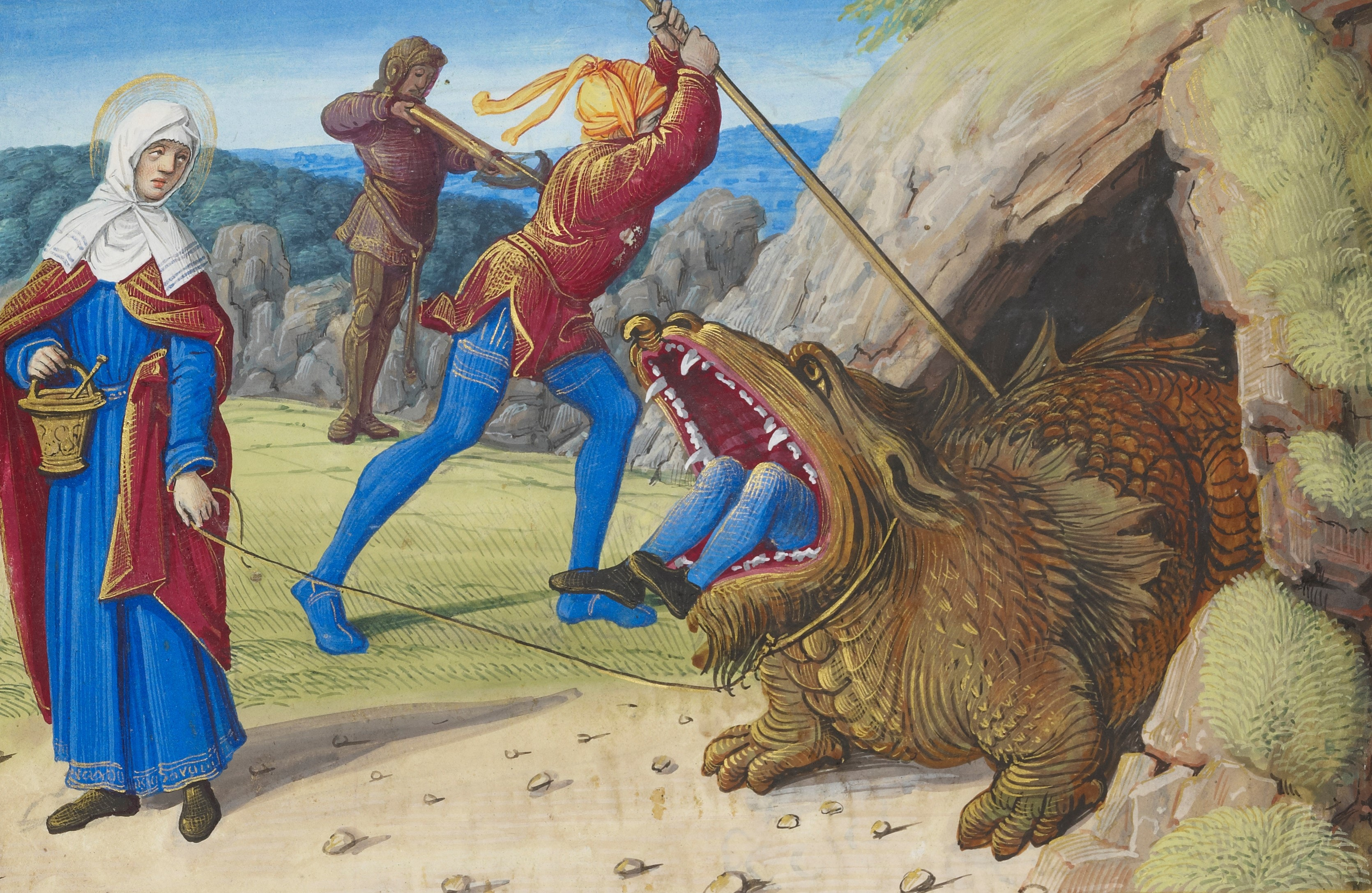 """Jean Poyer's """"The Taming the Tarasque"""" is among the works captures the role of monsters in medieval art."""