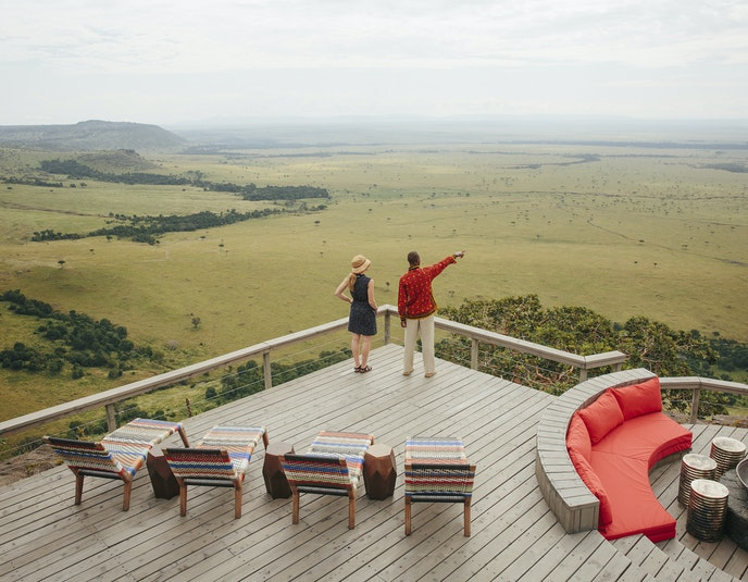 The deck at Angama Mara sits 1,000 feet above the valley.