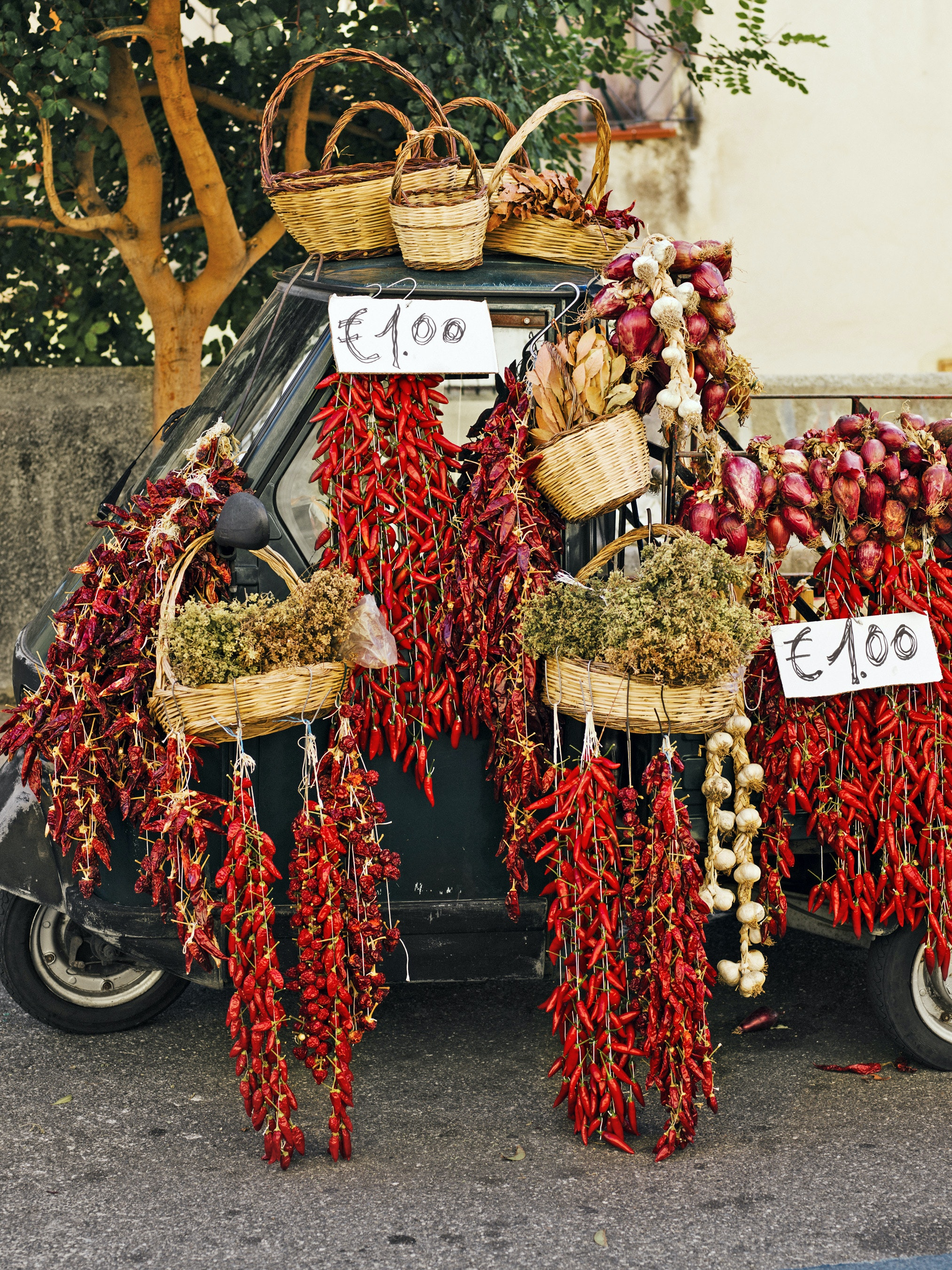 Calabrian red peppers are important ingredients for local cuisine.